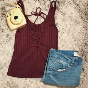 Urban Outfitters Tie-up Burgundy Crop Top
